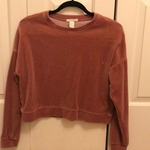 Fuzzy Forever 21 Cropped Pink Jumper